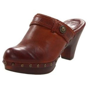 FRYE Audra Button Heel Leather Brown Heel Clogs